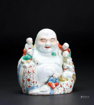 粉彩弥勒佛瓷塑座像