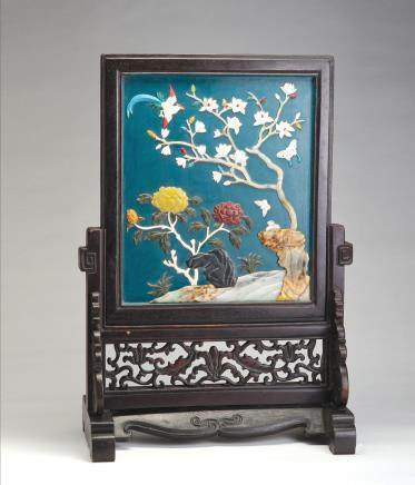 木胎嵌寿山石双面桌屏
