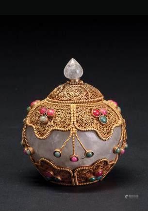 铜鎏金掐丝嵌宝石水晶盖罐