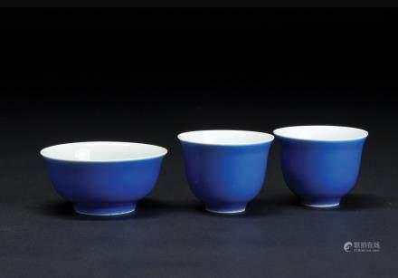 蓝釉碗·杯一组