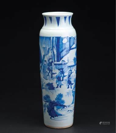 青花人物纹象腿瓶