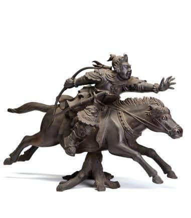 铜雕胡人英雄策马奔腾摆件
