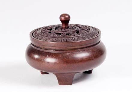 红铜三足小香炉