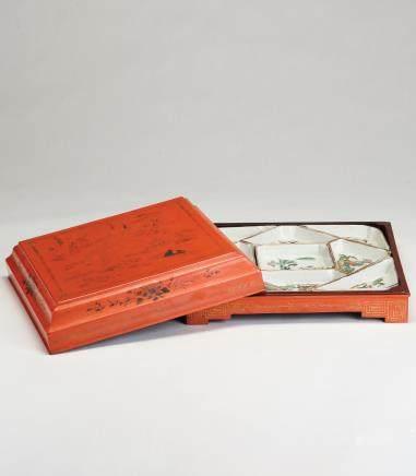 粉彩侍女纹果盒一组(含木盒)