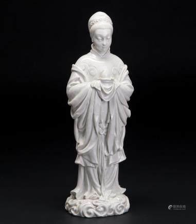 麻姑献寿白瓷塑像
