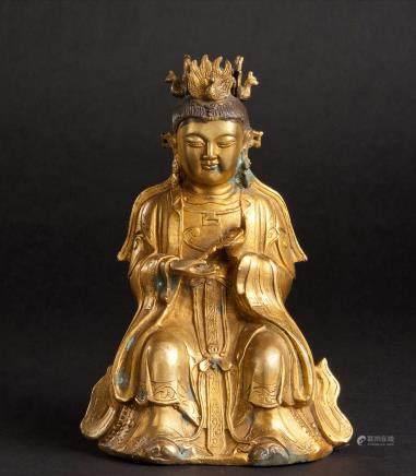 铜鎏金宝镜观音座像