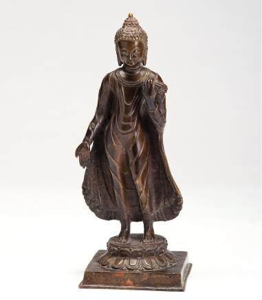 铜雕释迦弥勒佛立像