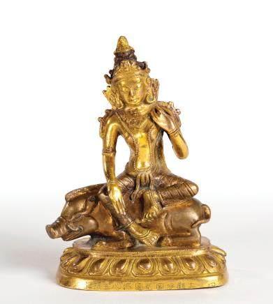 铜鎏金骑猪菩萨座像