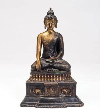 铜鎏金释迦弥勒佛座像