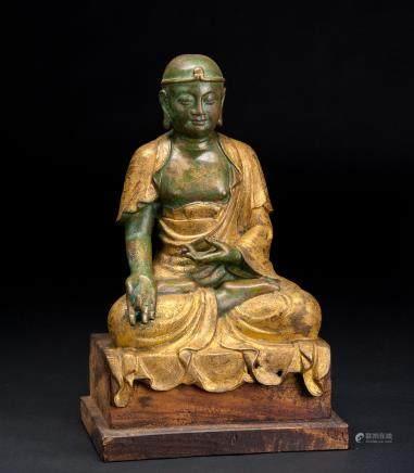 铜鎏金罗汉尊者像(含原配木座)