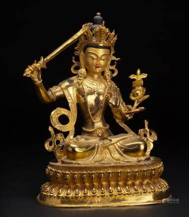 铜鎏金文殊菩萨座像