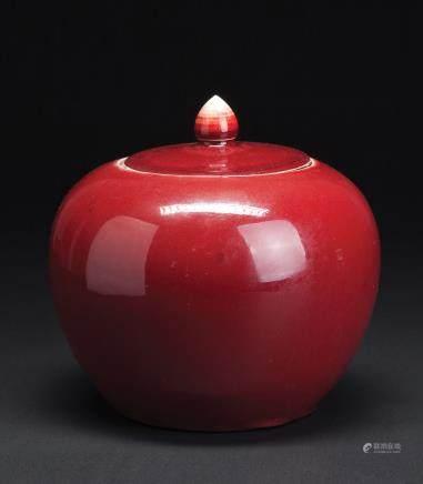 红釉圆盖罐