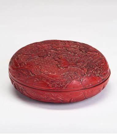 剔红狩猎图圆盒