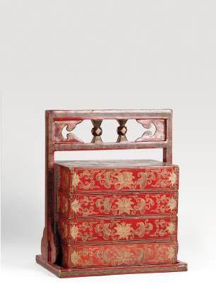 红漆描金花卉纹食盒