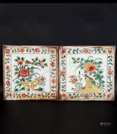 粉彩花鸟纹瓷板两片
