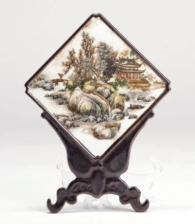 山水楼阁纹印花菱形瓷板