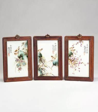 刘雨岑 粉彩花鸟纹瓷板一组