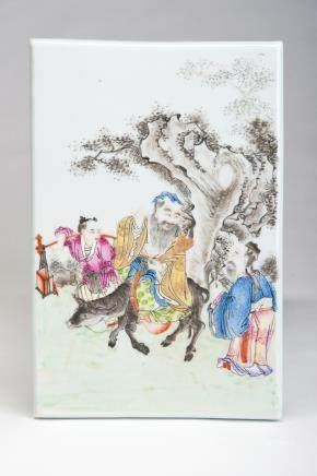 粉彩老者骑牛访友图瓷板
