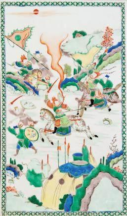 五彩英雄出征图瓷板