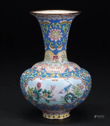 铜胎画珐琅花鸟纹瓶
