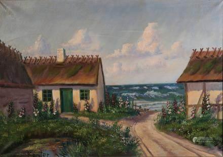 海边小村油画