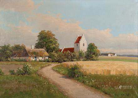 乡间教堂油画