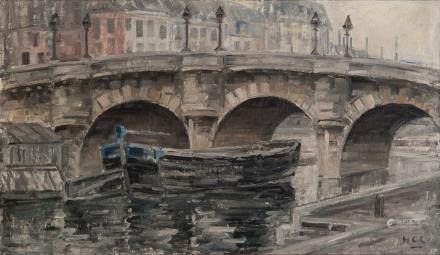 拱桥小船油画