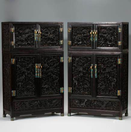 CHINESE PAIR OF ZITAN WOOD MINIATURE CABINETS