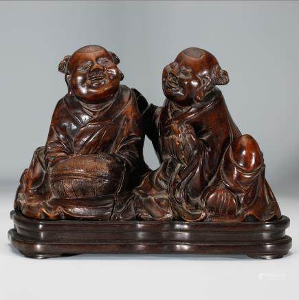 CHINESE HARDWOOD CARVED TWO BOYS
