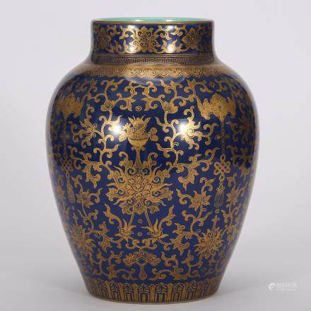 CHINESE GILDED BLUE GROUND PORCELAIN JAR
