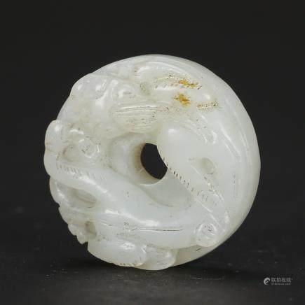 CHINESE WHITE JADE CHILONG PENDANT