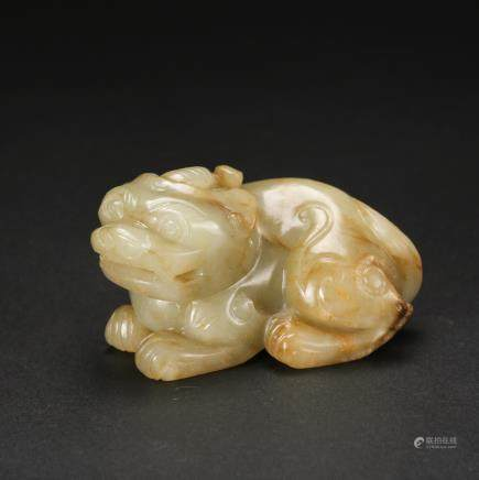 CHINESE JADE CARVED FOOLION