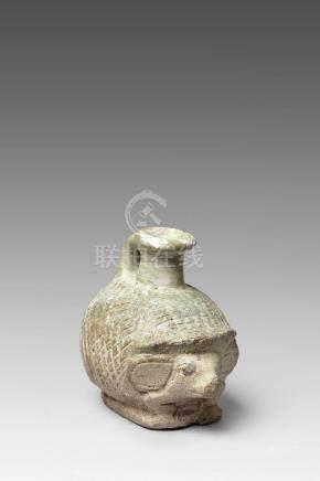 Vase à parfum en forme de hérissonFaïence émaillée verteGrèce, Rhodes, 664-252 avant J.-C.H