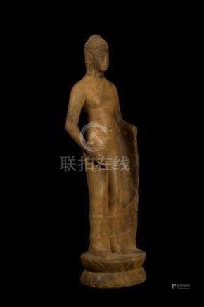 17th - 18th Century Khmer Sandstone Buddha Dipankara