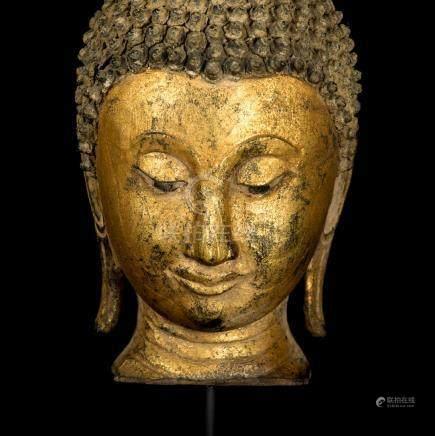 18th Century Sukhothai Gold Gilt Buddha Head
