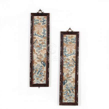 A Pair of Antique Chinese Kesi Sleeve Bands