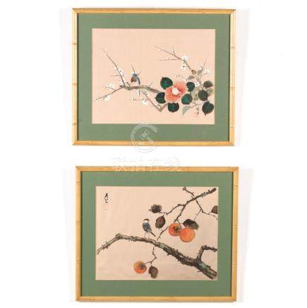 A Pair of Chinese Bird and Flower Paintings