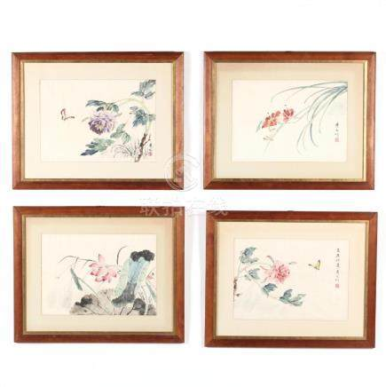 A Suite of Four Chinese Watercolor and Ink Paintings