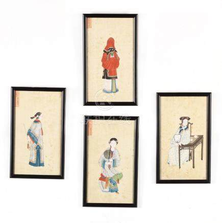 A Suite of Four Antique Chinese Export Paintings of