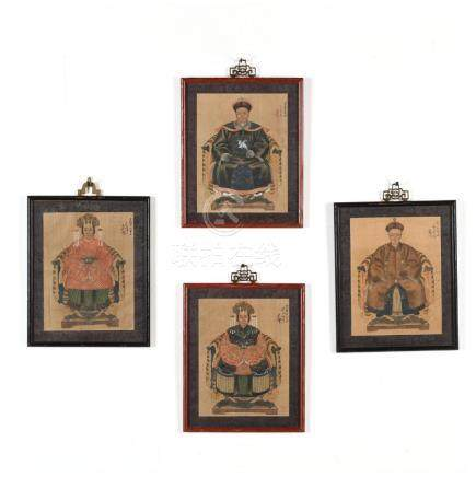 Two Pairs of Antique Chinese Ancestor Portraits