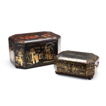 Two Chinese Lacquered Boxes