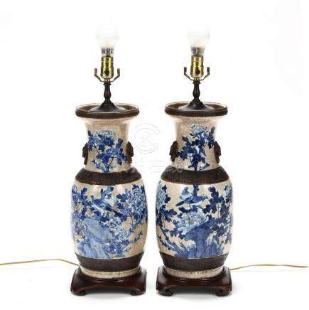 A Pair of Chinese Blue and White Vase Lamps