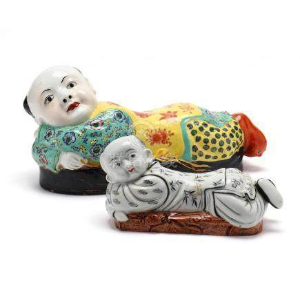 Two Chinese Famille Rose Boy Porcelain Pillows