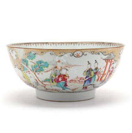 A Chinese Export Porcelain Famille Rose Punch Bowl
