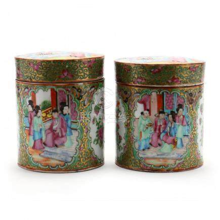 A Pair of Chinese Famille Rose Covered Jars