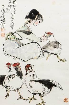 CHENG SHIFA (1924 -2007), FIGURE AND COCK