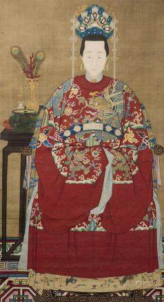 GONG ZHILU (LATE MING EARLY QING DYNASTY), THE PORTRAIT OF A MADAME OF A HIGH RANK OFFICIAL AT THE QING COURT