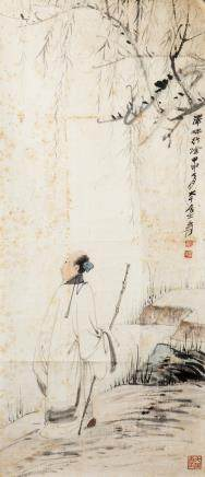 ZHANG DAQIAN (1899-1983) SCHOLAR UNDER THE TREE