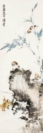 SHAO YOUXUAN (1915-2009), SPARROWS, BAMBOO, ROCK AND CHRYSANTHEMUMS