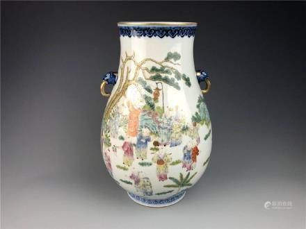 """China, Qing Style,""""Baby Play"""" Vase With A Pair Of"""